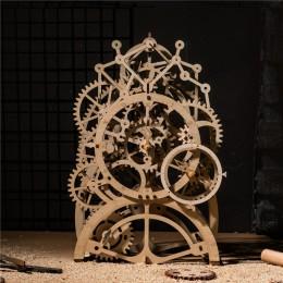 Robotime DIY drewniane rocznika biurko wahadło dekoracja zegara przekładnie mechaniczne rzemiosło akcesoria stołowe domu dla dzi