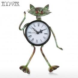 Tooarts w stylu Vintage zegar metalowe Retro Cat dekoracji domu brązu złota wyciszenie zegar stołowy rękodzieło Alarm zegar żela