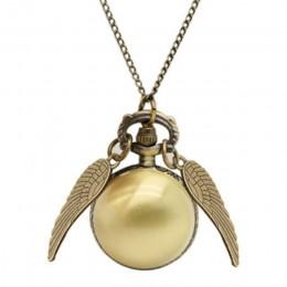 Harry Potter Cosplay złote skrzydła znicz zegarek retro kwarcowy zegarek kieszonkowy naszyjnik Quidditch kulki znicz naszyjnik z