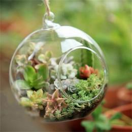 Terrarium Ball Globe kształt jasne szklana wisząca wazon kwiat rośliny pojemnik Ornament Micro krajobraz DIY ślubny wystrój domu