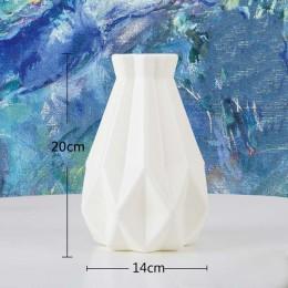 Origami wazon plastikowy mleczny biały imitacja ceramiczna doniczka na kwiaty kosz na kwiaty wazon dekoracji domu Nordic dekorac