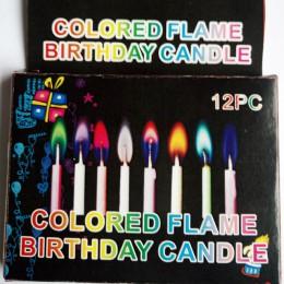 Birthday Party Supplies 12 sztuk/paczka ślub świeczki na tort bezpieczne płomienie deser dekoracji kolorowe płomień wielokolorow