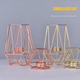 Świeczniki geometryczne wzory metalowe różowe złote glamour