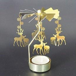 Gorąca przędzenia obrotowy metalowy karuzela świecznik na podgrzewacze stojak światła Xmas prezent kandelabry decorativos de vel