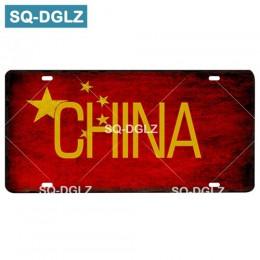 [SQ-DGLZ] flaga kraju + nazwa tablicy rejestracyjnej Bar dekoracje ścienne znak blaszany Vintage metalowy znak Home Decor malowa