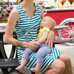 BAHEMAMI W Ciąży Kobiety Lato Bez Rękawów Sukienka Sukienki W Paski Karmienie Piersią I Opieki Kobiety Sukienki damskie Topy Ves