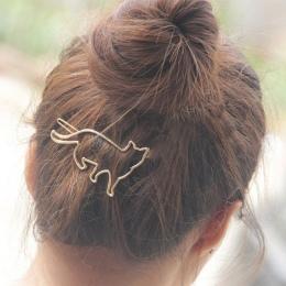 HOT Przyjazd Piękny Srebrny Złoty Kot Kształt Kobiety Dziewczyny Włosów Klip Clamp Biżuteria Akcesoria Do Włosów