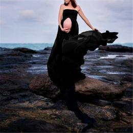 Lato Odzież Ciążowa Macierzyński Ciąża Fotografia Rekwizyty Elastyczne Sexy lash Neck Maxi Sukienki Kobiety Odzież Sesji zdjęcio