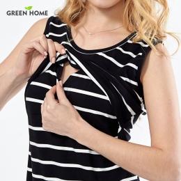 Zielona Domu Bawełna Striped Pielęgniarstwo Sukienka w Ciąży Kobieta Krótka Sukienka Letnie Sukienki Ciążowe Odzież Piersią Opie