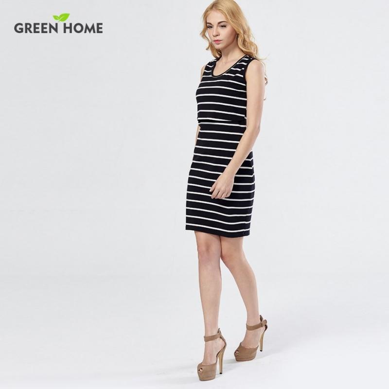 856749e608e75 ... Zielona Domu Bawełna Striped Pielęgniarstwo Sukienka w Ciąży Kobieta  Krótka Sukienka Letnie Sukienki Ciążowe Odzież Piersią ...