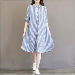 Ubrania ciążowe Koszulka Sukienka Dla Kobiet W Ciąży Sukienka Z Długim Rękawem W Paski Sukienka Pielęgniarskiej Dla Ciąży Karmie
