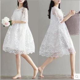9077 2017 lato twinset koronki macierzyństwa odzieży macierzyński jednoczęściowy dress biały haft ciążowe dress dla ciężarnych
