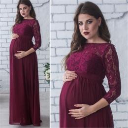 Moda Ciążowa Sukienka do Sesji zdjęciowej Maxi Suknia Macierzyński Z Długim Rękawem Koronki Fantazyjne Sexy Kobiety Mama Ciążowe