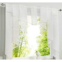 Latające Tulle zasłona kuchenna do okna balkon rzym plisowana projekt szwy kolory woal Sheer zasłony biała przędza zasłony krótk