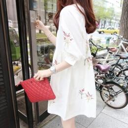 A36 2018 nowa sukienka ciążowa wersja bawełniane i lniane haftowane średniej i długi krótki rękaw luźne lalki spódnica