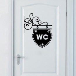 Wielokrotnego użytku biuro w domu łazienka drzwi naklejki WC Symbol samoprzylepna PVC wymienny łatwe zastosowanie WC wodoodporne