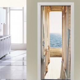 Naklejka na drzwi samoprzylepna morze plaża tapeta otwarte drzwi obraz 3d plakat