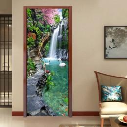 3D natura krajobraz wodospady naklejka na ścianę i drzwi salon kuchnia pcv samoprzylepne wodoodporna naklejka na drzwi tapety