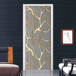 Złote liście naklejki na drzwi dekoracyjne do domu samoprzylepne tapeta wodoodporna