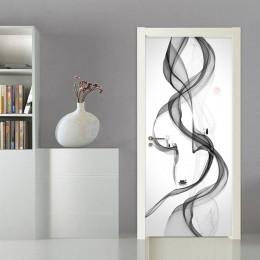 Naklejki Ścienne Na Drzwi 3D Tapeta Salon Sypialnia Czarno Biała Dym Kawa