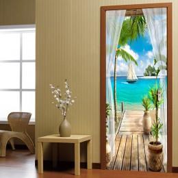 Balkon widok na morze 3D drzwi naklejki obraz ścienny salon drzwi do sypialni naklejki na tapetę samoprzylepne wodoodporne wystr