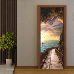 Wodoodporne Samoprzylepne tapety ścienne na drzwi morze do salonu sypialni naklejki PVC