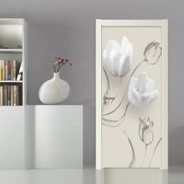 Nowoczesne proste białe kwiaty drzwi naklejki salon sypialnia pcv samoprzylepne wodoodporne Mural tapeta na ściany 3 D naklejki
