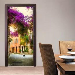 Retro krajobraz drzwi Mural tunelu podłogi krok 3D drzwi naklejki DIY samoprzylepne tapeta wodoodporna Poste do dekoracji wnętrz