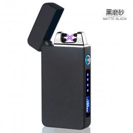 Wyświetlacz LED zasilania impuls ładowania USB zapalniczki gorąca sprzedaż podwójny łuk cygaro zapalniczka plazmowa wiatroszczel