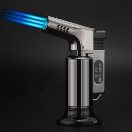Na świeżym powietrzu zapalniczka do grilla cygaro latarka Turbo lżejsze Jet butan gaz papieros 1300 C pistolet natryskowy wiatro