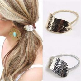1 PC Moda Sexy Kobiety Lady Liść Linowy Pasma włosów Opaska Elastyczna Ponytail Holder Party Wakacje Hairband Akcesoria Do Włosó