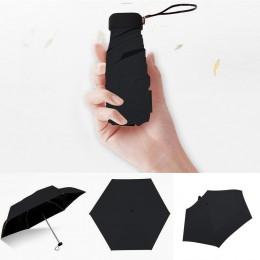 Kobiety luksusowe lekki Parasol czarny powłoka Parasol 5 krotnie słońce deszcz Parasol Unisex podróży przenośne kieszonkowe mini