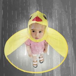 Śliczny płaszcz przeciwdeszczowy Cartoon kaczka dla dzieci płaszcz przeciwdeszczowy UFO parasol dla dzieci kapelusz magiczne wol