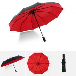W pełni automatyczny Oversize wzmocnione parasol trzy składane mężczyzna kobieta parasol deszcz kobiety wiatroszczelna biznesu p