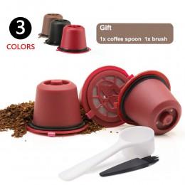 3 sztuk/paczka kapsułka kawy Nespresso wielokrotnego użytku wielokrotnego użytku cafe z 1PC łyżka z tworzywa sztucznego filtr Po