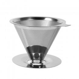 Filtr do kawy wielokrotnego użytku uchwyt ze stali nierdzewnej podwójna warstwa siatka metalowa lejek kosze kroplownik kawowy he