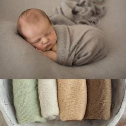 50*160 cm Wiele Kolory Nowy Newborn Photo Prop Okłady, dzianiny Miękkie Stretch Fotografia Prop, pozowanie Biały Popcorn Rozciąg