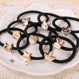 Gootrades 10 sztuk Czarne Liny Elastyczne Włosy Pałąk Akcesoria Do Włosów dla Kobiet Dziewczyn Metalowe Liny Gumka Do Włosów Nak