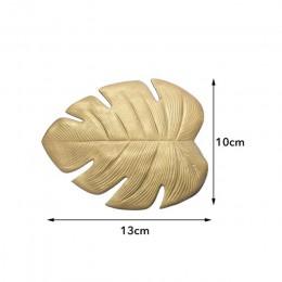 Modne ozdobne podkładki w kształcie oryginalnych liści monsterów ochronne podstawki pod naczynia w kolorze złotym srebrnym