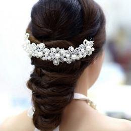 Moda Pearl Kryształ Stroik Akcesoria Do Włosów Ślubne Dla Panny Młodej Spinki Biżuteria Dla Nowożeńców Włosów Nakrycia Głowy Dek