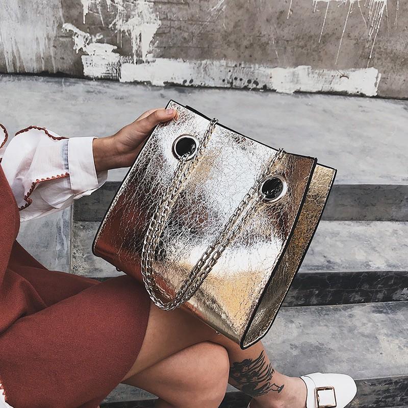 Duża torebka damska torba pękła pęknięcie łańcucha torba na