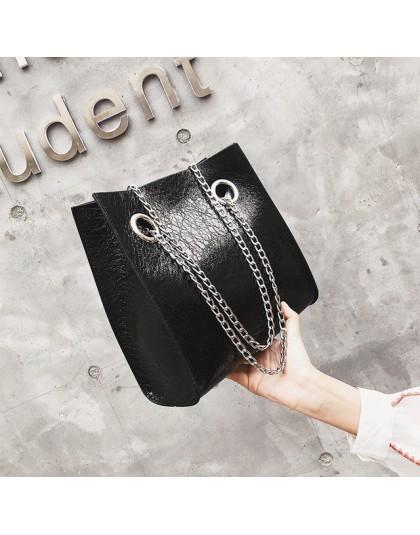 Duża torebka damska torba pękła pęknięcie łańcucha torba na ramię PU skóra nit dużej pojemności mobilne torby damskie dla kobiet