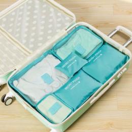 6 sztuk podróży organizator torba etui na ubrania przenośny futerał do przechowywania bagażu walizka Chic torby Unisex skorzysta