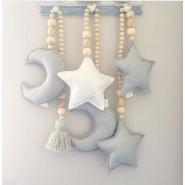 Dziecko Dekoracji Poduszki Nordic Księżyc Gwiazdy Drewniane Koraliki Struny Zabawki Dla Dzieci Wystrój Pokoju Łóżko Szopka Namio