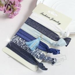 Trendy Lato Elastyczna Kobiety Włosów Akcesoria Pomponem Hairband Biżuteria Zespół Ręka Dla Dziewczyn 5 sztuk/paczka Końcówek Wł