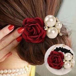 Kobiety Wstążka Róża Kwiaty Symulowane Perły Pałąk Dekorowanie Gumki do Włosów dla Dziewczyn Biżuteria Do Włosów