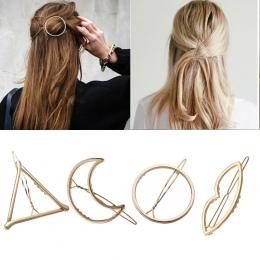Moda Kobieta Włosów Akcesoria Trójkąt Klip Do Włosów Pin Metal Geometryczne Stopu Hairband Księżyc Koło Hairgrip Barrette Dziewc