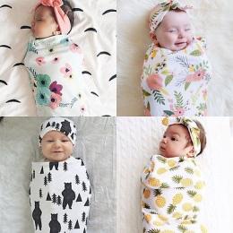 2 Sztuk/zestaw! Moda Dziecko Muślinu Przewijać Dziecko Koc Dziecko Śpi Przewijać noworodka Okład z Pałąkiem na głowę