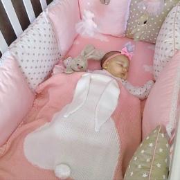 Cute Baby Koce Dla Niemowląt Dzieci Królik Miękkie Ciepłe Wełny Do Przewijania Dzieci Ręcznik kąpielowy Piękny Noworodka Rekwizy