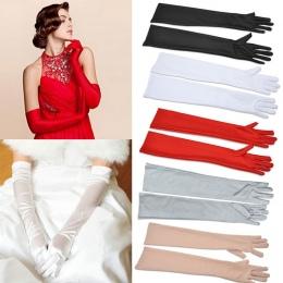 Satynowe Długie Finger Elbow ochrona przed Słońcem rękawice Rękawice Opera Wieczorne Party Prom Kostium Moda czarny czerwony bia